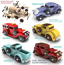 toy cars and trucks. Handmade Wooden Toy Cars And Trucks Plans For Quick N Easy Five Car Fleet, Torpedo Coupe, Fire Truck, Club Sedan, Pickup Truck #handmade O