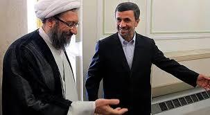 Afbeeldingsresultaat voor احمدی نژاد و لاریجانی با خامنه ای