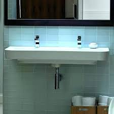 double sink trough trough sink two faucets sinks bathroom inch wall hung trough bathroom sink two