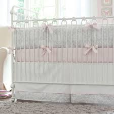 Pink and Gray Damask Crib Bedding