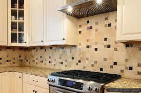 travertine backsplash glass tile insert beige cabinet