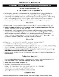 computer programmer resume samples free entry level computer programming resume template sample