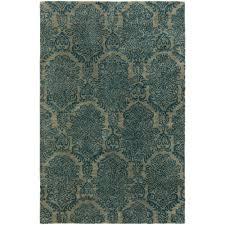 kalaty seville damask blue 2 ft x 3 ft area rug