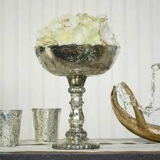 mercury glass compote dish bowl centerpiece with pedestal 8 x 9 25 inches