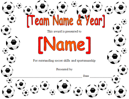 soccer awards templates soccer award certificate in microsoft word format