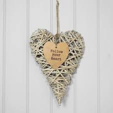 decorative willow wicker hanging heart wall mounted shabby chic love romance