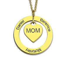Engraved Moms Heart Necklace with Kids Names Gold Color Circle Heart ...