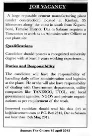 Logistics Officer Job Description Administrative Officer TAYOA Employment Portal 16