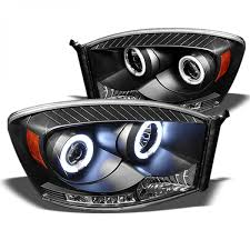 Halo Lights For 2006 Dodge Ram Spyder Auto 2006 2008 Dodge Ram 1500 2006 2009 Ram 2500 3500 Drl Led Halo Projector Headlights Black