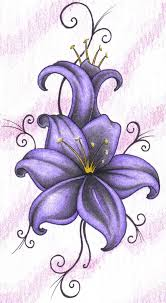 lilies flowers tattoos wonderful purple lily tattoo design on paper truetattoos makeup