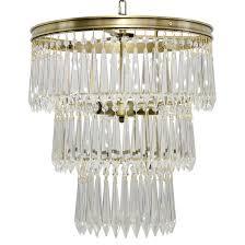 sheridan regency antique brass 3 tier u drop prism chandelier