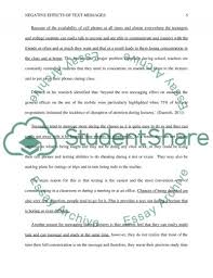 negative effects of text messaging on students essay  text preview