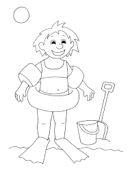coloring pictures of sun 2. Interesting Coloring Summer Coloring Pages Girl Beach Sun Swimming For 2 Sand Intended Pictures Of