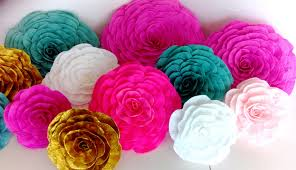 large giant paper flowers hot pink gold teal nursery wall decor backdrop party arabian nights bollywood