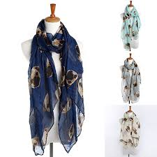 Women Fashion Long <b>Cute Pug Dog</b> Head Print Scarf Wraps Shawl ...