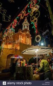 Fontana Tree Lighting Religious Festival In Fontana Village Gozo Malta Stock Photo