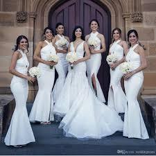 Best Selling Side Split Country Bridesmaids Dresses Mermaid Halter Neck Wedding Guest Dress Cheap Floor Length Maid Of Honor Gowns Jasmine Bridesmaid