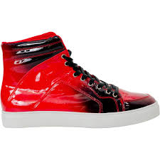 spike fire red patent leather high top sneakers thumb 4