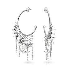 amazon celestial moon stars dangling charm crescent shaped large hoop stud earrings for women silver tone snless steel jewelry