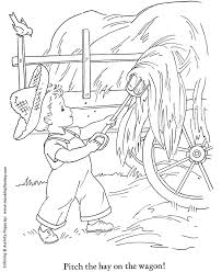 Small Picture Fall Coloring Pages Kids Harvesting Hay Coloring Page Sheets of