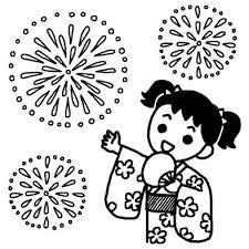 浴衣の女の子花火大会夏の季節8月の行事無料白黒イラスト素材