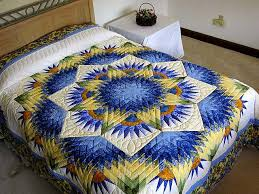 Compass Star Quilt -- wonderful ably made Amish Quilts from ... & Blue and Yellow Compass Star Quilt Photo 1 ... Adamdwight.com