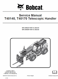 bobcat t40140 t40170 telescopic handler operating and service manual