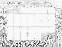 August Coloring Pages August 2017 Calendar Coloring Page Corn Moon