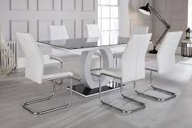 giovani high gloss and glass dining table and 6 lorenzo chairs set