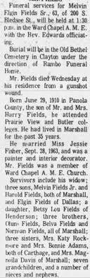 Obituary for Melvin Elgin Fields - Newspapers.com