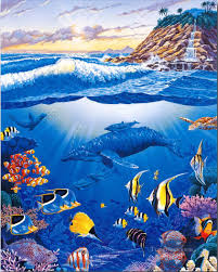 ocean life seabed landscape painting