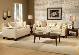 stylish furniture for living room. faux leather beige couch set using dark brown wooden coffee table centerpieces also brick wall panel for small space furniture stylish living room n
