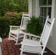 retro white painted mahogany wood outdoor rocking chairs which furnished with windsor back wooden front porch