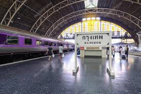 bangkok thailand 2016 october 23 inside of bangkok railway station hua lamphong with bangkok sign and passengers photo by itman47