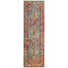 crystal light blue orange 2 ft x 5 ft runner rug