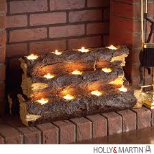 Tea Light Candle Fireplace Log The Rustic Charm Of A Flickering Fire Is Recreated With This