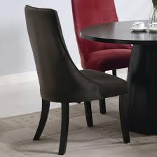 red upholstered dining chairs. Furniture. Curved Red And Black Velvet Chairs With Four Wooden Legs On Grey Rug Upholstered Dining O