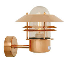 nordlux blokhus copper outdoor wall light with pir sensor lighting direct