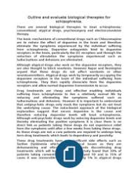outline and evaluate biological therapies for schizophrenia unit  aqa psychology a unit 4 schizophrenia 6 00 1 essay