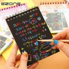 <b>EZONE Magic Scratch Notebook</b> Children DIY Black Pages Graffiti ...