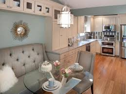 Breakfast nook decorating ideas. Glass breakfast nook table with sofa at  kitchen corner