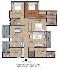 skyrise group housing floor plan 3bhk 2