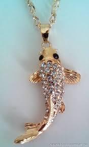 superb necklace pendant carpe koi metal rhinestone