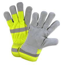 hi vis large split leather palm gloves