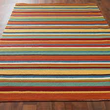 Colorful Stripe Hooked Indoor Outdoor Rug