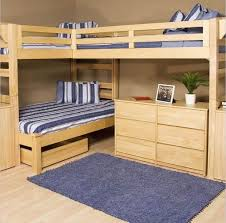 Bedroom: L-shaped Wooden Bunk Bed With Desk Underneath - Bunk Bed With Desk