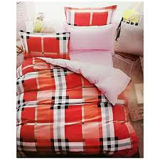 checd duvet cover with 2 pillow cases 1 bedsheet red white