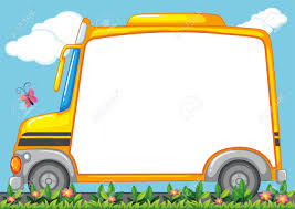 Small Picture Border Design With Schoolbus In Garden Illustration Royalty Free