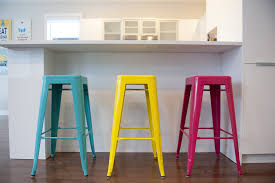 white backless bar stools. Blue Red Yellow Backless Bar Stools Modern Kitchen Wood Flooring White Countertop