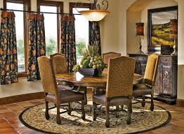 round kitchen table decor ideas. Dining Room. Awesome Design Ideas Using Black Motif Loose Curtains And Round Brown Rugs Kitchen Table Decor
